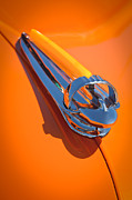 Orange Photos Posters - 1947 Chevrolet Deluxe Hood Ornament Poster by Jill Reger