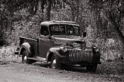 Chevy Pickup Prints - 1947 Chevrolet Pickup Retro Black and White Print by Ken Smith