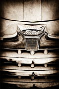 1947 Photos - 1947 Ford Deluxe Grille Grille Emblem by Jill Reger
