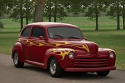 Hot Rod Flames Posters - 1947 Ford Sedan Hot Rod Poster by Tim McCullough