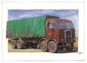 Original For Sale Painting Framed Prints - 1947 Scammell R8 Framed Print by Mike  Jeffries