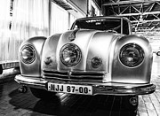 Jeffery Johnson Prints - 1947 Tatra T-87 Saloon Black and White Print by Photo Captures by Jeffery