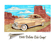 Old Street Drawings Posters - 1948 DeSoto Club Coupe Poster by Jack Pumphrey