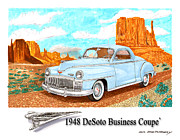 Old Street Drawings Posters - 1948 DeSoto Monument Valley Poster by Jack Pumphrey