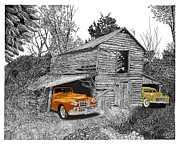 Barn Drawings Prints - 1948 Lincoln Barn Find Print by Jack Pumphrey