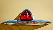 Chrome Framed Prints - 1948 Plymouth Deluxe Emblem Framed Print by Jill Reger