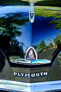 Classic Car Photographer Framed Prints - 1948 Plymouth Special Deluxe Club Coupe Front Emblem Framed Print by Jill Reger