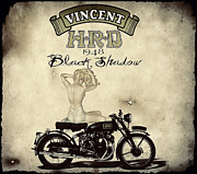 Black Digital Art - 1948 Vincent Black Shadow by Cinema Photography