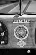 Photography Digital Art Prints - 1949 Delahaye 175 S Cabriolet Dandy Dash Board Emblem - Clock Print by Jill Reger