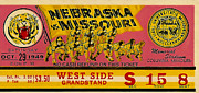 Sports Memorabilia Posters - 1949 Football Ticket - Nebraska vs Missouri Poster by David Patterson