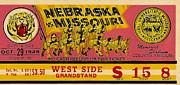 1949 Football Ticket - Nebraska Vs Missouri Print by David Patterson