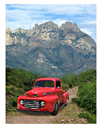 Green Framed Prints Posters - 1949 Ford F-100 Pick up Poster by Jack Pumphrey