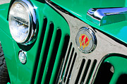 Jeep Posters - 1949 Willys Jeep Station Wagon Grille Emblem Poster by Jill Reger