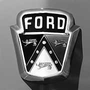 Custom Ford Photos - 1950 Ford Custom Deluxe Station Wagon Emblem by Jill Reger