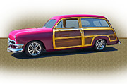 Custom Ford Metal Prints - 1950 Ford Woody Wagon Metal Print by Dave Koontz