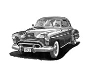 Framed Prints Drawings - 1950 Oldsmobile Rocket 88 by Jack Pumphrey