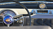 Old Cars Photos - 1950 Oldsmobile Rocket 88 Steering Wheel 3 by Jill Reger