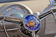 Blue Classic Car Prints - 1950 Oldsmobile Rocket 88 Steering Wheel Print by Jill Reger