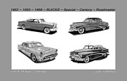 Black Top Drawings Prints - 1950s Buicks times four of the 1950s Print by Jack Pumphrey