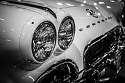 1956 Chevy Corvette Framed Prints - 1950s Chevrolet Corvette C1 in Black and White Framed Print by Paul Velgos