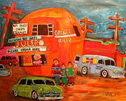 Decarie Boulevard Paintings - 1950s Orange Julep Montreal Memories by Michael Litvack
