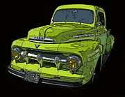 Samuel Sheats Posters - 1951 Ford Pickup Truck Poster by Samuel Sheats