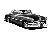 Pen And Ink Framed Prints Posters - 1951 Pontiac Hard Top Poster by Jack Pumphrey