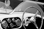 Sports Photographs Prints - 1953 Ferrari 340 Mm Lemans Spyder Steering Wheel Emblem Print by Jill Reger