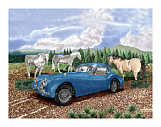 New At Painting Posters - 1953 Jaguar Horsin around in Ne Mexico Poster by Jack Pumphrey