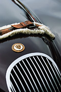 Car Photography Posters - 1953 Jaguar XK 120SE Roadster Grille Emblem Poster by Jill Reger