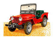 Note Cards Drawings Prints - 1953 Jeep C J three A Print by Jack Pumphrey