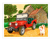 Creek Framed Prints Posters - 1953 Jeep CJ Three Doodledum Poster by Jack Pumphrey