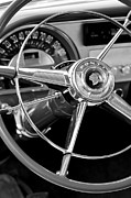 Historic Vehicle Prints - 1953 Pontiac Steering Wheel 2 Print by Jill Reger