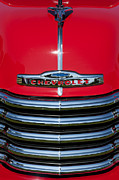 Chrome Prints - 1953 Red Chevrolet 3100 Pickup Print by Tim Gainey