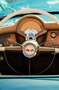 Sports Cars Posters - 1954 Chevrolet Corvette Convertible  Steering Wheel Poster by Jill Reger