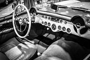 General Motors Framed Prints - 1954 Chevrolet Corvette Interior Black and White Picture Framed Print by Paul Velgos