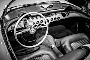 General Motors Framed Prints - 1954 Chevrolet Corvette Interior Framed Print by Paul Velgos