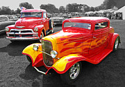 Monochrome Hot Rod Framed Prints - 1954 Chevrolet with 1932 Ford Coupe Hot Rod Framed Print by Gill Billington