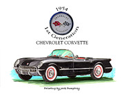 Early Mixed Media Posters - 1954 Corvette First Generation Poster by Jack Pumphrey