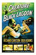 Featured Mixed Media Prints - 1954 Creature from the Black Lagoon Vintage Movie Art Print by Presented By American Classic Art