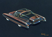 Road Mixed Media Metal Prints - 1954  Ford Cougar experimental car concept design concept sketch Metal Print by John Samsen