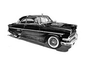 Custom Ford Drawings Metal Prints - 1954 Ford Skyliner Metal Print by Jack Pumphrey