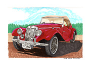 British Cars Framed Prints - 1954 M G T F  Framed Print by Jack Pumphrey