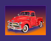 Metal Prints Drawings - 1955 Chevrolet 3100 Pick Up Truck by Jack Pumphrey