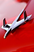 Red Chevrolet Prints - 1955 Chevrolet Belair Nomad Hood Ornament Print by Jill Reger