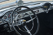Wheel Posters - 1955 Chevrolet Belair Steering Wheel - Dashboard Emblems Poster by Jill Reger