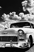 General Motors Company Prints - 1955 Chevrolet Monochrome Print by Tim Gainey