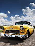 Muscle Car Framed Prints - 1955 Chevrolet Framed Print by Tim Gainey