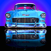Blue Car Framed Prints - 1955 Chevy Bel Air Framed Print by Jim Carrell