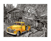 Art In Acrylic Drawings Framed Prints - 1955 Chevy Pick up Truck in Lake Robers N M  Framed Print by Jack Pumphrey
